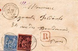 Recommandé De VILLEMONTAIS (54)L.S.C. 16/8/79,T.P. N° 90 Et 91. - Marcophilie (Lettres)