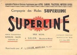 """CPA / CARTE DE VISITE FRANCE 13 """"Salon, Spécialité D'Huiles Et Graisses Supérieures Pour Autos, SUPERLINE"""" - Salon De Provence"""