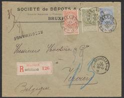 """Tricolore (n°57, 59 Et 60) Sur Lettre En R Obl SC """"Bruxelles 3"""" + Obl à Fraction """"Bruxelles 3.8"""" Vers Verviers. TB - 1893-1900 Schmaler Bart"""