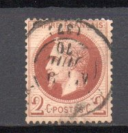 - France N° 26B Oblitéré CAD - 2 C. Rouge-brun Napoléon III Lauré 1870, Type II - Cote 50 EUR - - 1863-1870 Napoleon III With Laurels