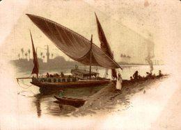 CHROMO SPECIALITE DE BLANC NANCY  PAYSAGE EGYPTIEN  BARQUE SUR LE NIL - Chromos