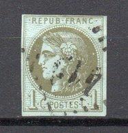 - FRANCE N° 39B Oblitéré Losange GC - 1 C. Olive Emission De Bordeaux 1870, Report 2 - Signé BRUN - Cote 220 EUR - - 1870 Bordeaux Printing