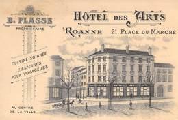 """CPA / CARTE DE VISITE FRANCE 42 """"Roanne, Hotel Des Arts, Place Du Marché"""" - Roanne"""