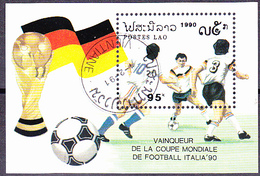 Laos - Fußball-WM1990 In Italien; Gewinn Deutschland (MiNr: Bl. 135) 1991 - Gest Used Obl - Laos