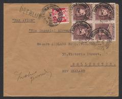 Képi - N°321 En Bloc De 4 + N°339 Sur Lettre Par Avion De Kortrijk / Courtrai (1936) Vers Wellington (New Zeland) / Impe - 1931-1934 Kepi