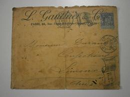 Paris Départ, Rare Double H/V Flamme Drapeau RF Du 26 Dec 1898 Sur Sage 15 Centimes Bleu. Enveloppe : état Voir Photos - Marcophilie (Lettres)