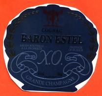 étiquette Autocollante De Cognac Grande Champagne XO Baron Estel à ?- 40°/° - 70 Cl - Coquille - Labels