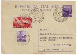 Italie Carte Entier 1948 De Verone Pour Paris , Cartolina Italia - 1946-60: Marcophilie