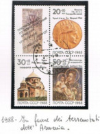 URSS - SG 5957.5959  - 1988  ARMENIAN EARTHQUAKE RELIEF (COMPLET SET OF 3 + 1 LABEL SE-TENANT)    - USED° - RIF. CP - Usati