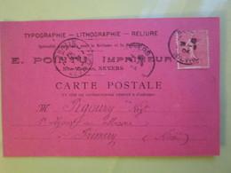 """Carte Postale """" Timbre """" SEMEUSE 10cts  Oblitérée à Nevers & Prémery (58) 26/09/1904 - E.POINTU IMPRIMEUR TYPOGRAPHIE - 1903-60 Semeuse A Righe"""