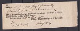Wuerttemberg - 1817 -  Vorph. Postschein- Mergentheim - Ortsdruck - Weidlich Nr. 43 - Germania