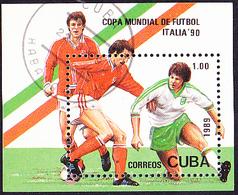 Kuba Cuba - Fußball-WM Italien (MiNr: Bl. 117) 1990 - Gest Used Obl - Blocchi & Foglietti
