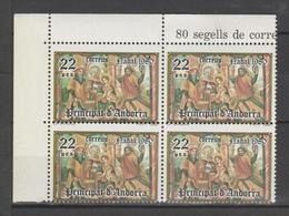 ANDORRA C.ESPAÑOL  BLOQUE DE 4 SELLOS  TALADRO DESPLAZADO  (S.2) - Nuevos