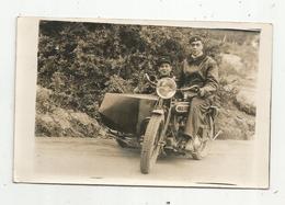 JC , Cp, Carte Photo ,moto , Side Car , Militaria , Militaires , 2 Scans - Motos