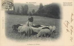 CPA 15 Cantal Aurillac En Auvergne La Bergère Aux Champs Troupeau Mouton - Aurillac