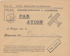 LETTRE . PTT 1939. CORRESPONDANCE A ACHEMINER PAR AVION  PARIS AVIATION. ST OUEN SUR SEINE 29 MARS 39 - Posta Aerea