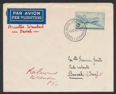 Poste Aérienne - PA8 Sur Lettre Par Avion De Bruxelles - Aéroport (1949) Vers Basrak (Iraq) / Bruxelles - Istanbul, Reto - Poste Aérienne