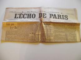 L'ECHO DE PARIS , 2 Mai 1909, Journal  Du Monde Entier - Giornali