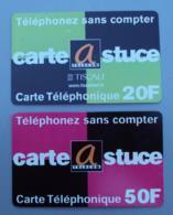 015, Lot De 2 Cartes Prépayées Carte Astuce Telecom 50 F Et 20 F - France