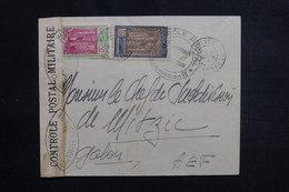 CAMEROUN - Enveloppe De Yaoundé Pour Le Gabon En 1943 Avec Contrôle Postal, Affranchissement Plaisant - L 50361 - Cameroun (1915-1959)
