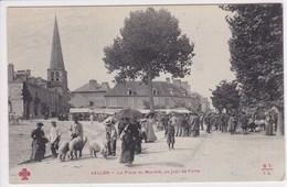 03 VALLON La Place Du Marché ,un Jour De Foire ,paysans Avec Cochons - Altri Comuni