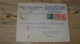Enveloppe TRIPOLI Timbres GRAND LIBAN, 1924 Pour Marseille - Syrie (1919-1945)
