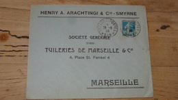 Enveloppe Cachet TRESOR ET POSTES 528 - SMYRNE - 1920 - Andere