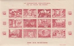 BLOC 12 VIGNETTES III° EXPOSITION PHILATELIQUE DE PARIS  AIDE AUX MUSICIENS. BLOC GRENAT. 1944 - Erinnofilia