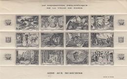 BLOC 12 VIGNETTES III° EXPOSITION PHILATELIQUE DE PARIS  AIDE AUX MUSICIENS. BLOC ARDOISE. 1944 - Blocs & Carnets