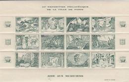 BLOC 12 VIGNETTES III° EXPOSITION PHILATELIQUE DE PARIS  AIDE AUX MUSICIENS. BLOC VERT. 1944 - Blocs & Carnets