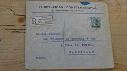 TURQUIE : LEVANT BRITANNIQUE : Enveloppe Recommandée 1922 Pour Marseille - Levante Britannico