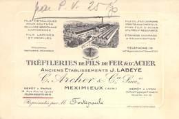 """CPA / CARTE DE VISITE FRANCE 01 """"Meximieux, Tréfileries De Fils De Fer é D'Acier, C. ARCHER & Cie"""" - Frankrijk"""