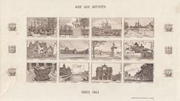 BLOC 12 VIGNETTES   AIDE AUX ARTISTES. BLOC NON DENTELE BRUN. 1942 - Blocs & Carnets