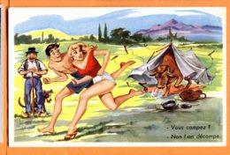 OLI069, Camping, Berger, Taureau, Gag, 482, Non Circulée - Humour