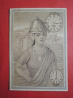CHROMO  Lith. GIBERT-CLAREY.  Les Heures Dans Le Monde. Horloge.  MADRAS. INDE - Vieux Papiers