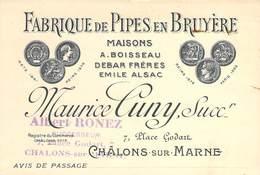 """CPA / CARTE DE VISITE FRANCE 51 """"Châlons Sur Marne, Fabrique De Pipes En Bruyère"""" - Châlons-sur-Marne"""