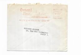 1955 France Cunard Line Paris Stream Ship Company Limited - Oblitérations Mécaniques (Autres)