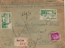 Macon 1937 - Lettre Recommandée Et Chargée Avec étiquette Et Paix - Marcophilie (Lettres)