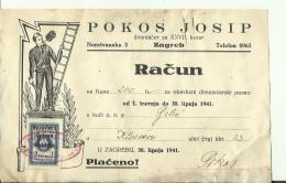 CROATIA  --  ZAGREB  --  FACTURE  --  TAX STAMP, NDH, OVERPRINT 1941  --  POKOS J.  --  DIMNJACAR, MONEUR, CHIMNEY SWEEP - Kroatien