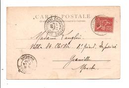 MOUCHON SUR CARTE DE CAMP DU RUCHARD INDRE ET LOIRE 1902 - Marcophilie (Lettres)