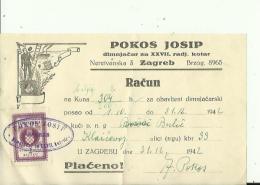 CROATIA  --  ZAGREB  --  FACTURE  --  TAX STAMP, NDH,  1942  --  POKOS J.  --  DIMNJACAR, MONEUR, CHIMNEY SWEEP - Kroatien