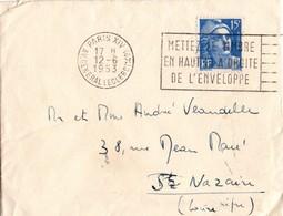 Paris XIV Av. Général Leclerc - 1953 - Flamme Mettez Le Timbre ... Sur Gandon - Marcofilie (Brieven)