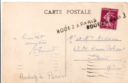 Rodez à Paris - Griffe Ambulant Sur Semeuse - Marcophilie (Lettres)