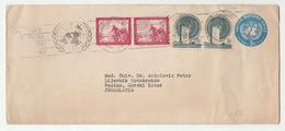 UN NY Postal Stationery Letter Cover Posted 1956 To Fužine, Yugoslavia - Uprated Bb200101 - New-York - Siège De L'ONU