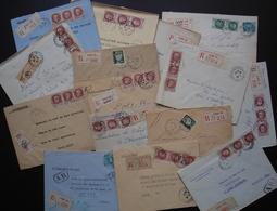 Lot De 15 Lettres Recommandées De Paris, Timbres Pétain, Voir Photos De Détail Recto Verso Pour Les Différents Cachets - Marcophilie (Lettres)