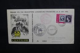 LUXEMBOURG - Enveloppe 1er Vol Par Hélicoptère Luxembourg / Strasbourg En 1952 - L 50410 - Lussemburgo