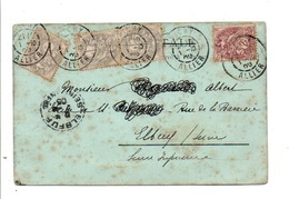 AFFRANCHISSEMENT COMPOSE DE BLANC SUR CARTE DE VICHY ALLIER 1905 - Marcofilie (Brieven)