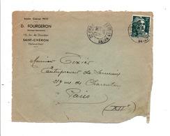 DEVANT DE LETTRE A EN TETE DE SAINT CHERON SEINE ET OISE (ESSONNE) 1945 - Marcophilie (Lettres)