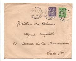 AFFRANCHISSEMENT COMPOSE DE IRIS SUR LETTRE DE LONGJUMEAU SEINE ET OISE (ESSONNE) 1944 - Marcophilie (Lettres)