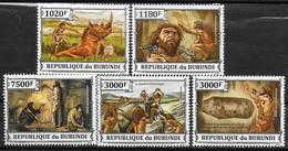 BURUNDI   N° 2086/89  BF 361  * *  ( Cote 18e )  Hommes Prehistoriques Et Art Parietal - Préhistoire